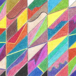 Colorful Cuts and Facets, colored pencil drawing by Darren Olsen at The Draw