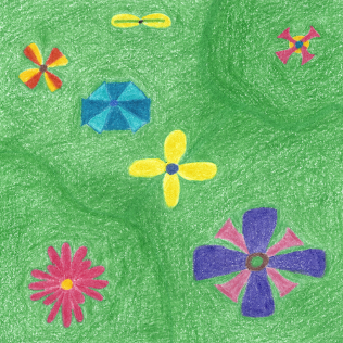 Flowers on Grassy Hills, colored pencil drawing by Darren Olsen at The Draw
