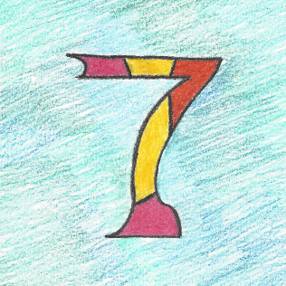Lucky Seven on Cool Blues, colored pencil drawing by Darren Olsen at The Draw