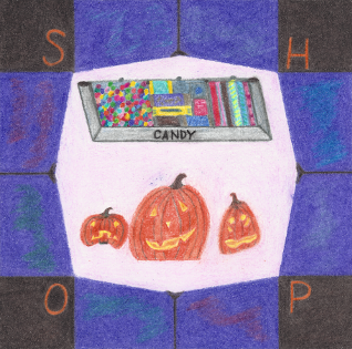 Candy Shop Stop, colored pencil drawing by Darren Olsen at The Draw