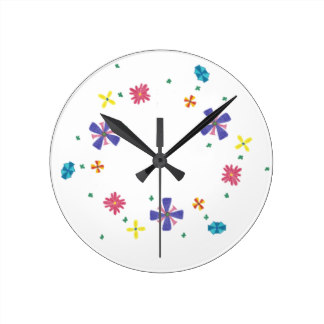 Ring of Flowers on Sharp White Clock, product at The Draw on Zazzle