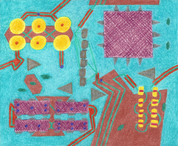 Colorful Circuits, colored pencil drawing by Darren Olsen at The Draw