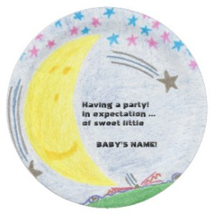 Moonlit Dreams Baby Shower Paper Plate, product at The Draw on Zazzle