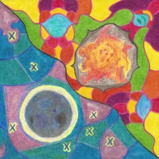 Sun and Moon, colored pencil drawing by Darren Olsen at The Draw