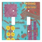 Colorful Circuits Circuit Board Light Switch Cover, as a double toggle, product at the Draw on Zazzle