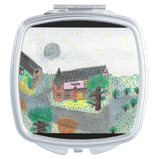 A faulty, square Magical Night Nighttime Scene Compact Mirror, with empty space due to the image originally having been filled on the oval shape