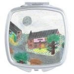 Magical Night Nighttime Scene Compact Mirror, in the square shape, product at The Draw on Zazzle