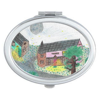 Magical Night Nighttime Scene Compact Mirror, product at The Draw on Zazzle