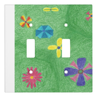 The original Flowers on Grassy Hills Light Switch Cover, as it appeared, by default, as a double toggle cover