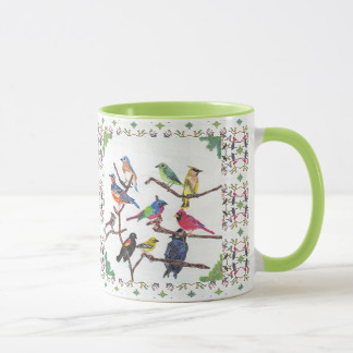 The Gathering Colorful Songbirds Patterned Mug