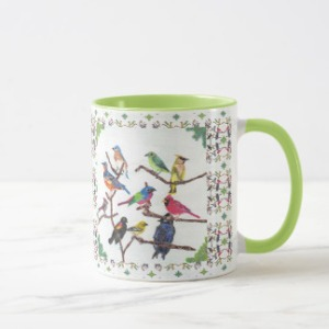 The Gathering Colorful Songbirds Patterned Mug, product at The Draw on Zazzle