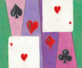 Two Cards in Love, colored pencil drawing by Darren Olsen at The Draw