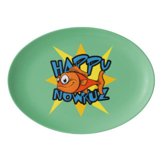 Goldfish Smiling Sun Persian New Year Nowruz Porcelain Serving Platter, product at Mystic Persia on Zazzle
