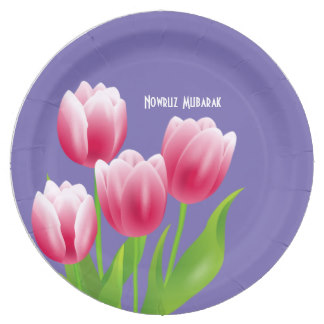 Spring Tulips Persian New Year Party Paper Plates, product at MAIRIN STUDIO on Zazzle