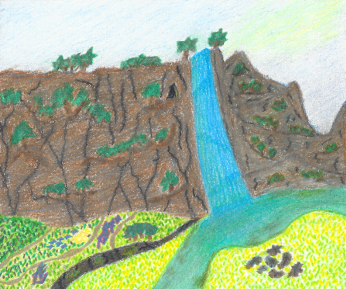 Sunny Falls, colored pencil drawing by Darren Olsen at The Draw