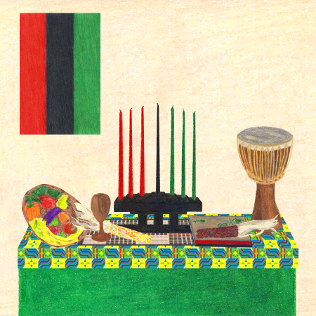 Gather 'Round Kwanzaa Creations, colored pencil drawing by Darren Olsen at The Draw