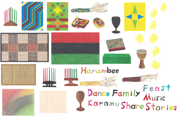 All my Kwanzaa Creations drawings in one scan