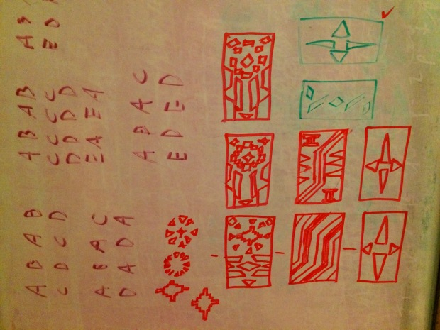 Drafts on whiteboard of the Kente pattern squares, with letters to the left that I used in deciding how to arrange the squares into the pattern