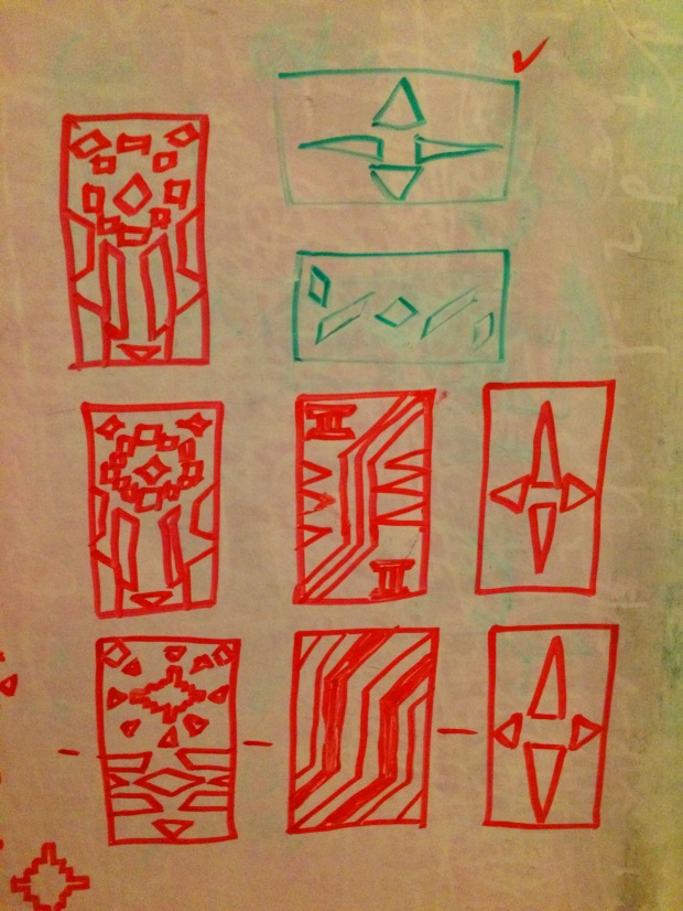 A closer look at the whiteboard drafts of the individual Kente squares