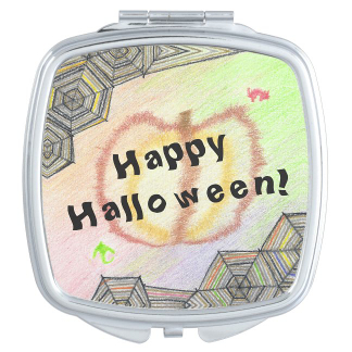Happy Halloween Playful Colorful Mirror, product at The Draw on Zazzle