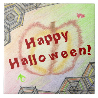 Happy Halloween Playful Colorful Tile, product at The Draw on Zazzle