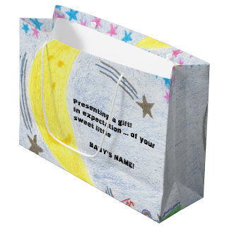 Moonlit Dreams Baby Shower Large Gift Bag, product at The Draw on Zazzle