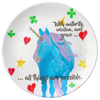Self-Made Unicorn Inspirational Porcelain Plate, product at The Draw on Zazzle