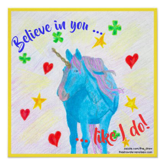 Self-Made Unicorn Inspirational Poster, product at The Draw on Zazzle