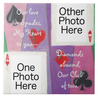 Two Cards in Love Romantic Tile, product at The Draw on Zazzle